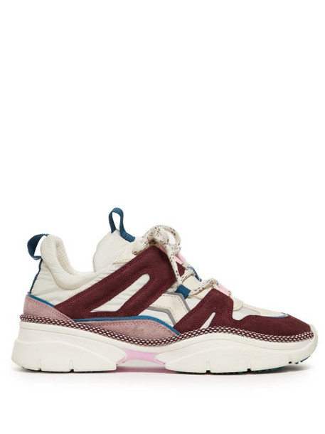 Isabel Marant - Kindsay Shell And Suede Low Top Trainers - Womens - Burgundy Multi