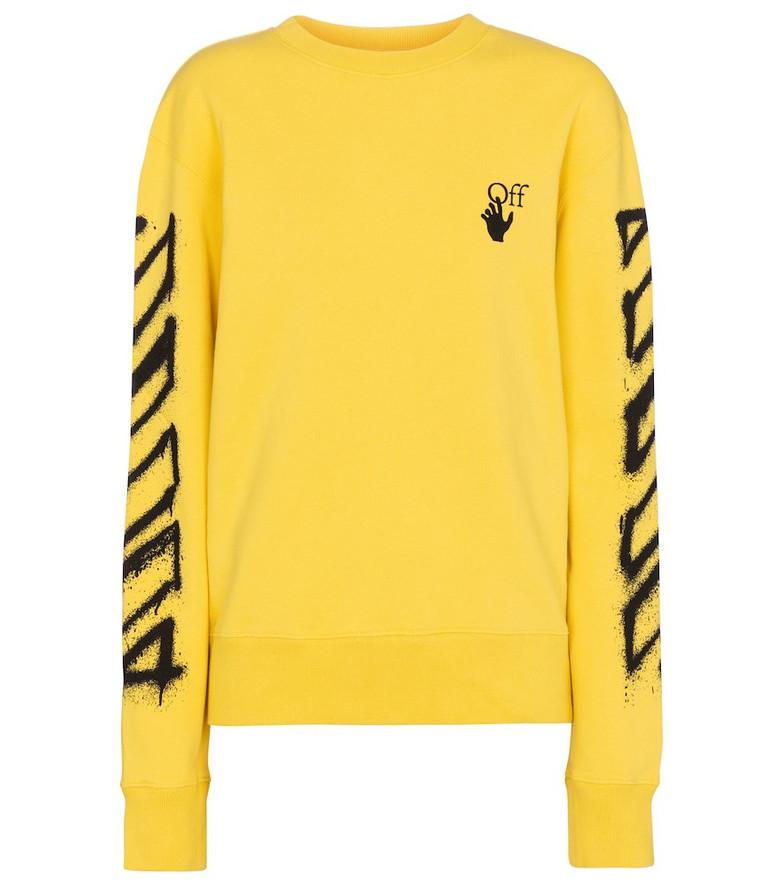 Off-White Arrows cotton jersey sweatshirt in yellow