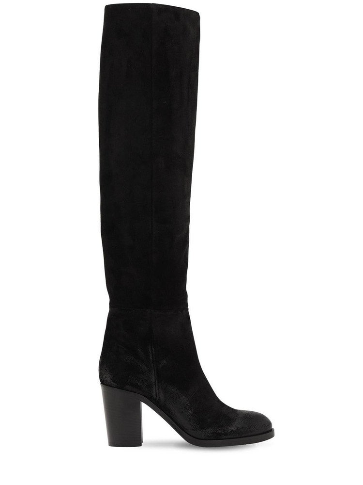 STRATEGIA 80mm Suede Over The Knee Boots in black