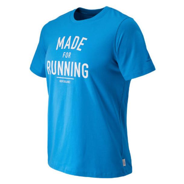 New Balance 53604 Men's Made for Running Tee - Bolt, White (AMT53604BTL)