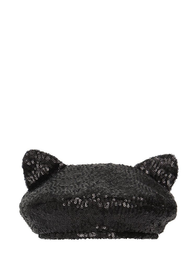 MAISON MICHEL Billy Ears Sequined Hat in black