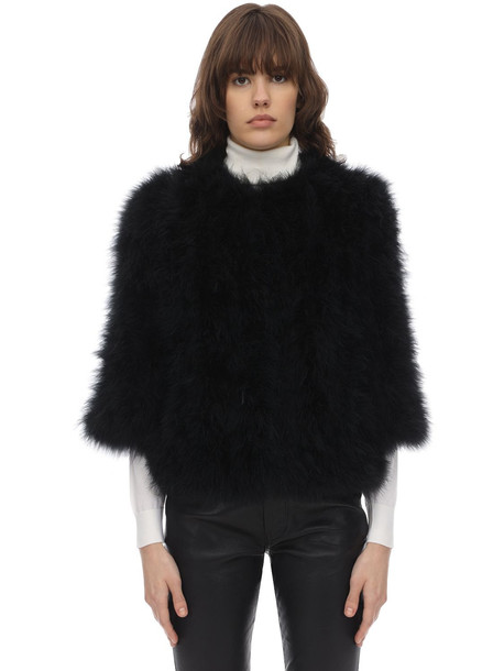 YVES SALOMON Cropped Sleeve Feather Jacket in black