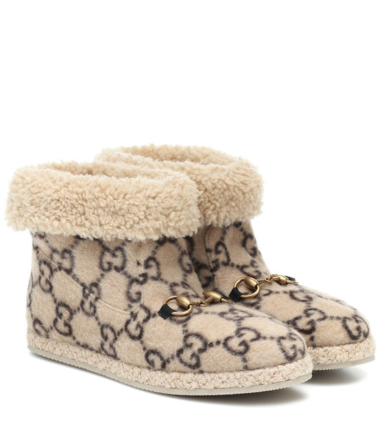 Gucci Fria GG wool-blend ankle boots in beige