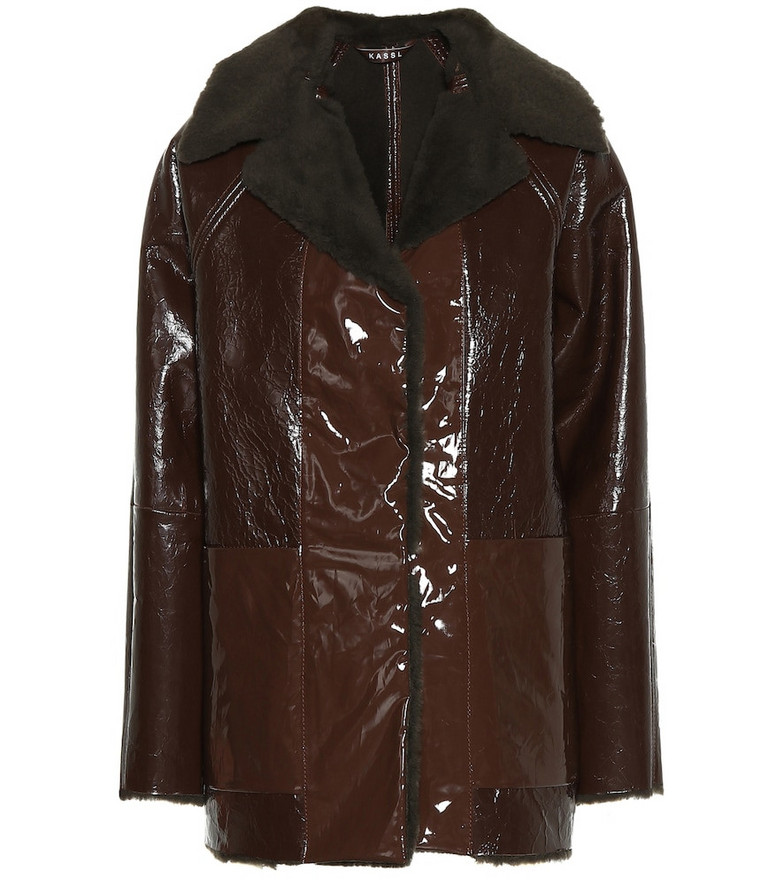 KASSL Editions Vinyl and shearling coat in brown