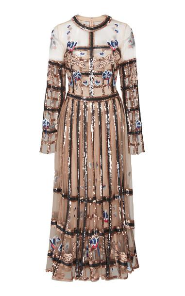 Temperley London Lola Sequin Detail Organza Dress Size: 14