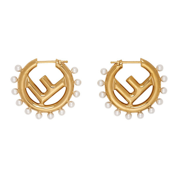 Fendi Gold F Is Fendi Pearl Earrings
