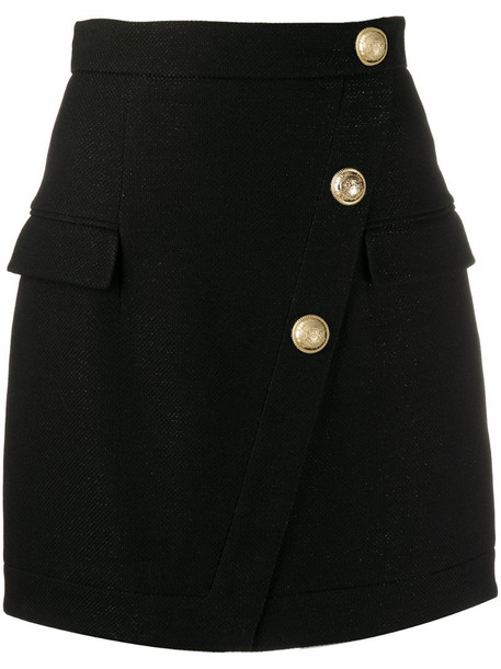Balmain buttoned short skirt in black