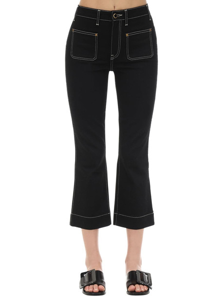 KHAITE Cropped Raquel Patch Cotton Denim Jeans in black