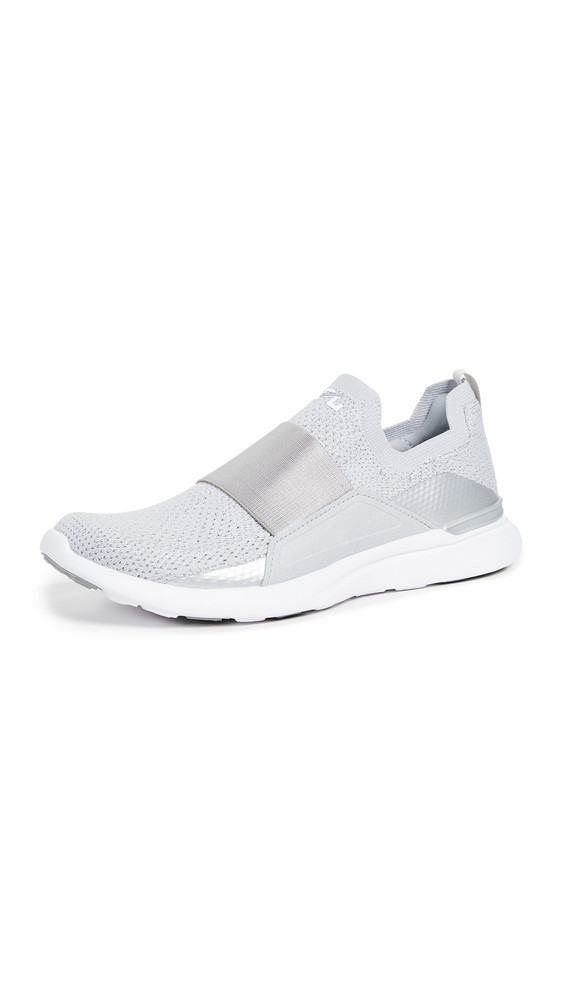 APL: Athletic Propulsion Labs TechLoom Bliss Sneakers in metallic / silver / white