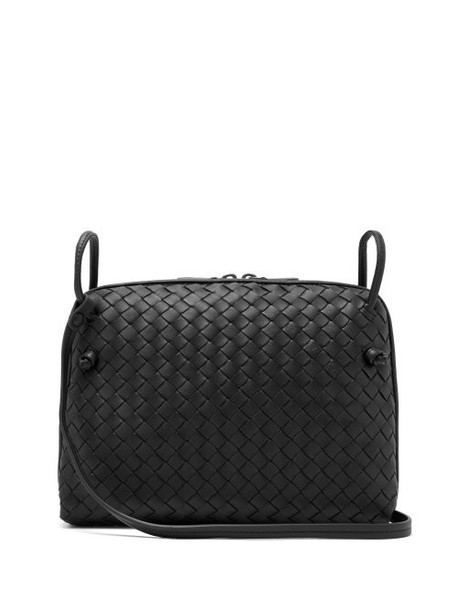 Bottega Veneta - Nodini Intrecciato Leather Cross Body Bag - Womens - Black