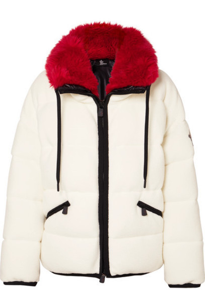Moncler Grenoble - Oversized Faux Fur-trimmed Quilted Fleece Down Ski Jacket - Ivory