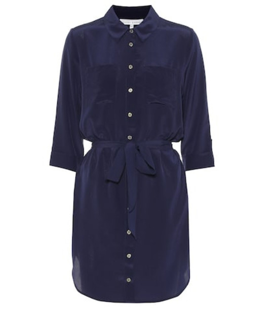 Heidi Klein Salina silk shirt dress in blue