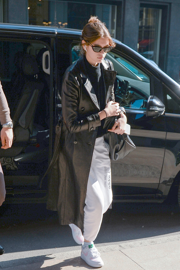 shoes sneakers coat leather leather coat kaia gerber model off-duty fashion week