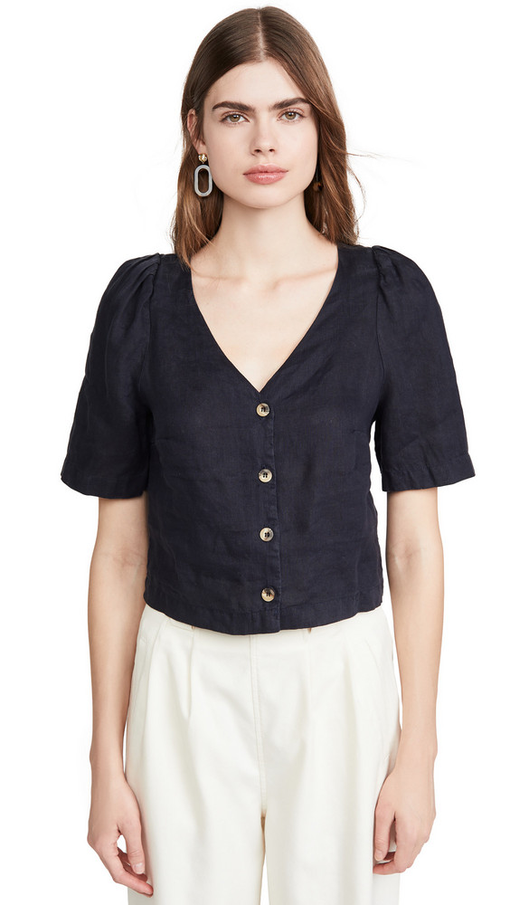 Stateside Linen Puff Sleeve Button Up Shirt in navy