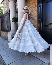 dress,midi dress,white dress,sleeveless dress,sandals,handbag,sunglasses