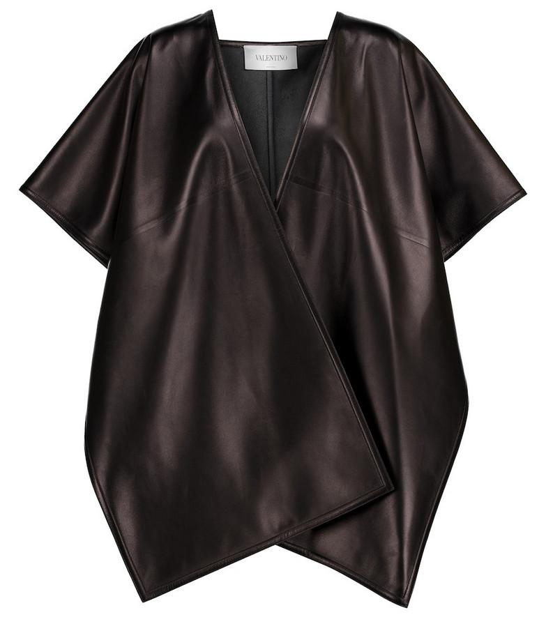 Valentino leather cape in black