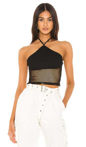 superdown Kira Mesh Halter Top in Black