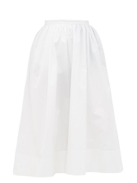 Jil Sander - High-rise Organic Cotton-poplin Midi Skirt - Womens - White