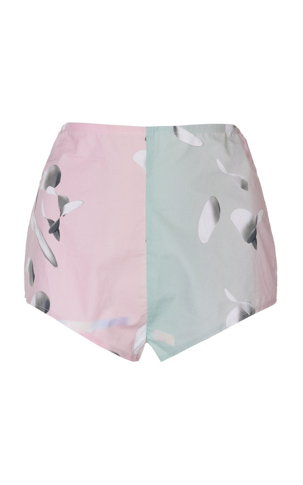Huishan Zhang Byrdie Cotton High Waisted Shorts in pink