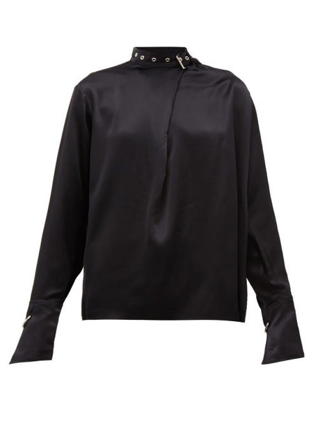 Marques'almeida - Buckled Neck Silk Charmeuse Blouse - Womens - Black