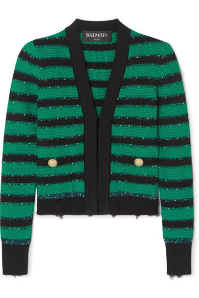 Balmain - Embellished Striped Stretch-knit Blazer - Green