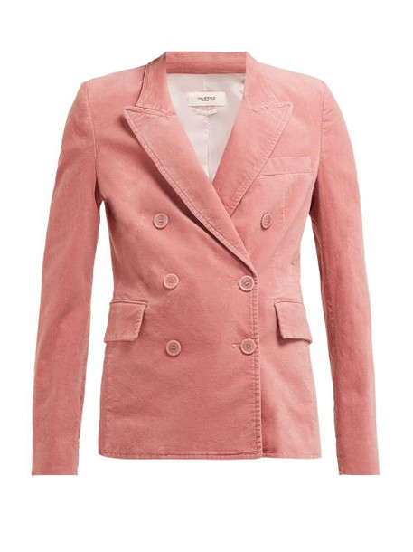 blazer double breasted velvet pink jacket
