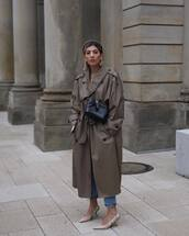 shoes,slingbacks,dior,trench coat,double breasted,oversized coat,black bag,jeans,headband