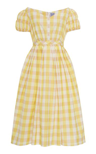 Thierry Colson Veronika Checked Cotton-Silk Midi Dress Size: S in yellow