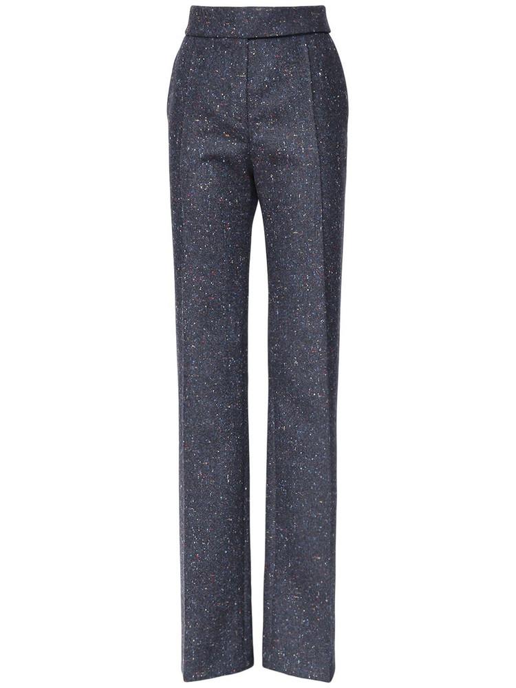 ALEXANDRE VAUTHIER High Waist Wool Tweed Straight Leg Pants in navy