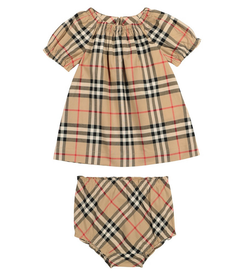 Burberry Kids Baby Vintage Check cotton dress and bloomers set in beige