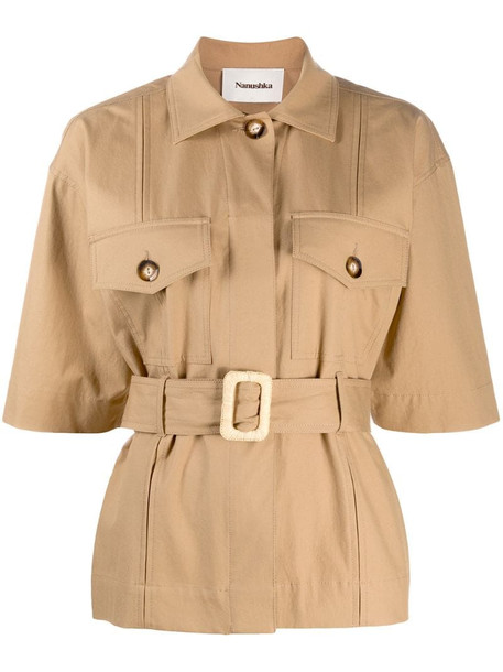 Nanushka Daino belted jacket in brown