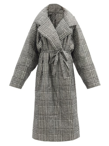 Norma Kamali - Boyfriend Sleeping Bag Prince Of Wales-check Coat - Womens - Grey Print