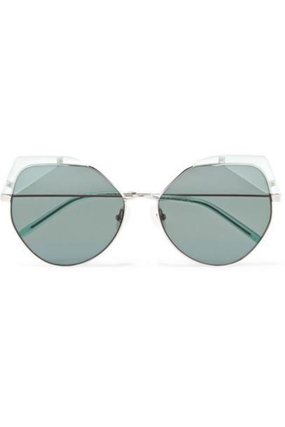 For Art's Sake - Fruity Cat-eye Silver-tone And Acetate Sunglasses - Green