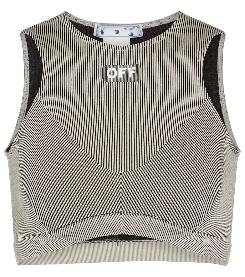 Off-White Ribbed-knit sports bra in grey