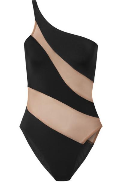 Norma Kamali - Mio One-shoulder Mesh-paneled Swimsuit - Black