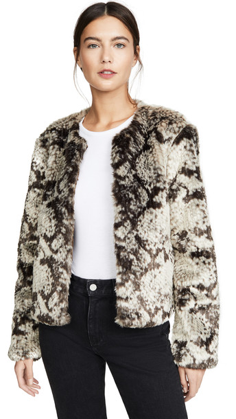 BB Dakota Snake Out Faux Fur Jacket in taupe