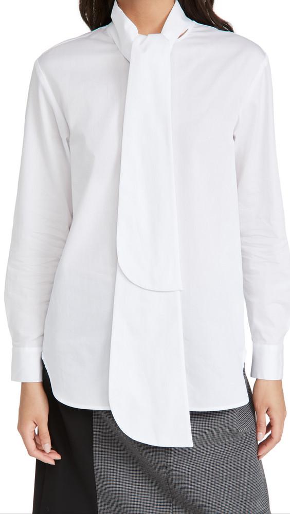 Tibi Flap Tie Shirt in white