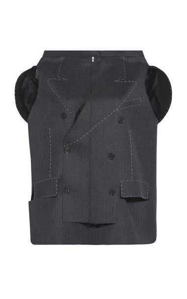 Maison Margiela Mohair-Blend Blazer Top in grey