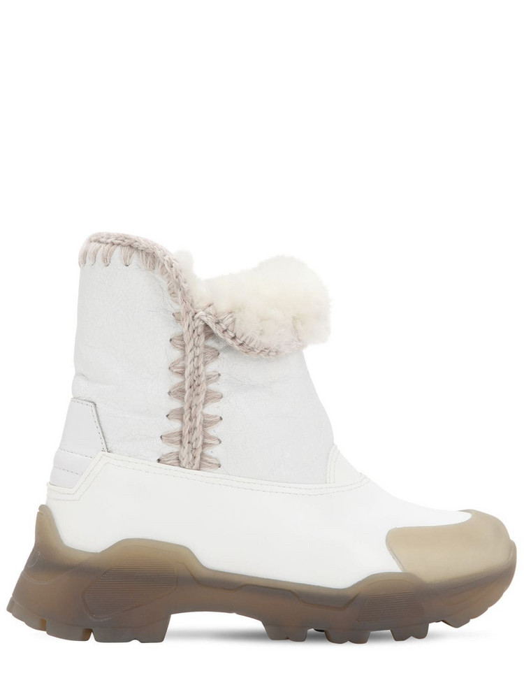 MOU 50mm Leather & Rubber Eskimo Boots in white