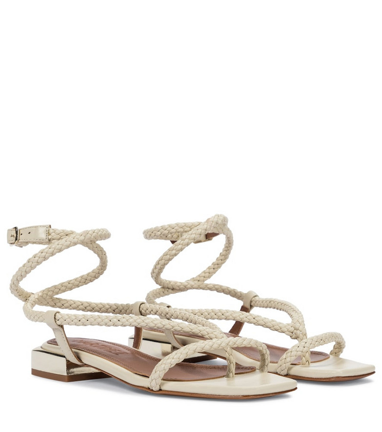 Souliers Martinez Amanecer 45 braided leather sandals in beige