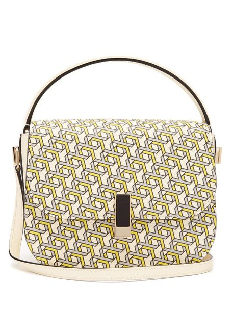 Valextra - Iside Xy Print Leather Cross Body Bag - Womens - Yellow Multi