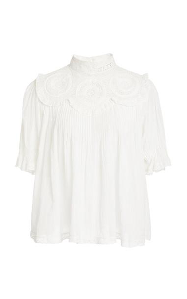 Sea Bruna Short Sleeve Blouse in white