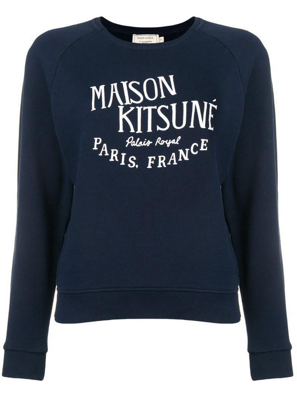 Maison Kitsuné logo embroidered sweatshirt in blue