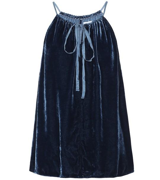 Aleaha velvet top in blue