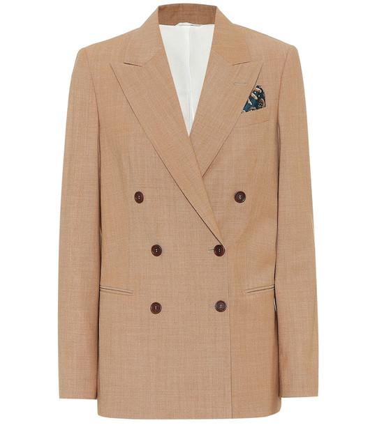 Brunello Cucinelli Stretch-wool blazer in beige