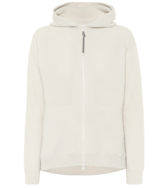 Brunello Cucinelli Ribbed knit cashmere hoodie in white
