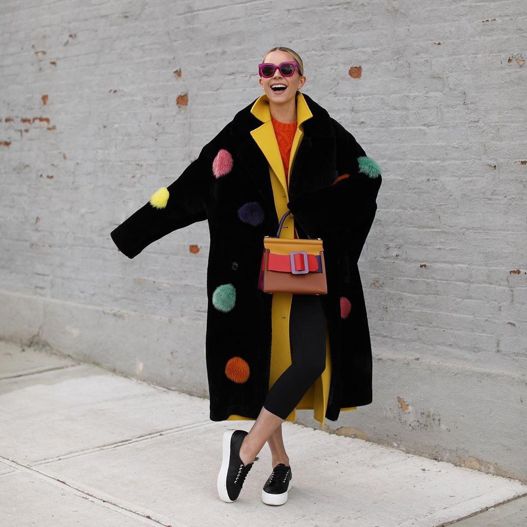 bag shoulder bag black sneakers black leggings black coat faux fur coat yellow coat sweater