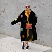 bag,shoulder bag,black sneakers,black leggings,black coat,faux fur coat,yellow coat,sweater