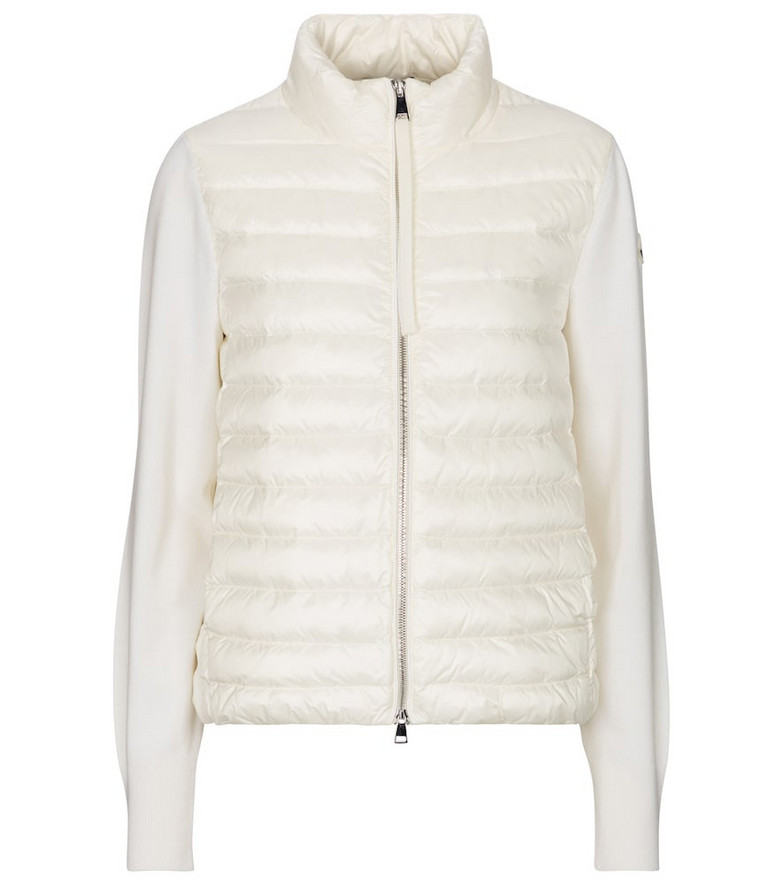 Moncler Quilted down and wool cardigan in white