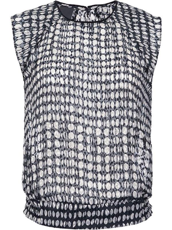 Pinko semi-sheer polka dot print blouse in black